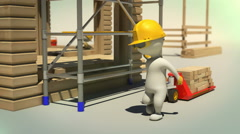 3d animation of construction worker carrying wooden planks with trans pallet Stock Footage