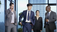 4K Portrait of smiling corporate business team in city office - stock footage