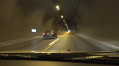 4K Driving Car in Tunnel, Subway Traffic in Mountains, Traveling in Greece, Pov - stock footage