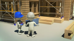 3d animation of civil engineer discussing with team leader Stock Footage