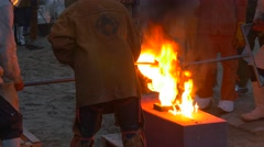 Liquid Orange Metal Burning in Molds People Workers Are Casting the Iron Stock Footage