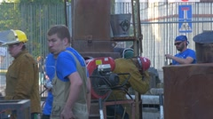 Employees of Workshop Repair Industrial Furnace During Carrying Out of Festival Stock Footage
