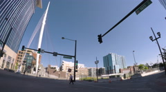 Car driving through Downtown Denver during the day-POV point of view. Stock Footage