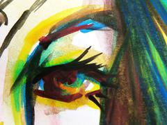 Abstract watercolor of beautiful woman eyes Stock Photos