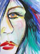 Abstract watercolor of beautiful woman face Stock Photos