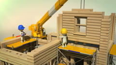3d animation of construction workers placing a modular wall - stock footage