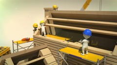 3d animation of construction crew installing the roof Stock Footage