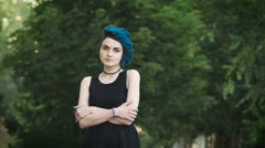 Portrait of an attractive punk girl with perfect fair skin Stock Footage