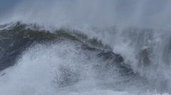 Big ocean sea waves crashing on coastal rocks during storm Arkistovideo