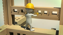 3d animation of construction worker tightening the bolt with wrench - stock footage