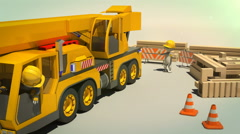 3d animation of parking crane truck - stock footage