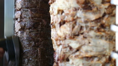 Turkish doner kebab cutting Stock Footage
