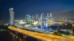 Singapore city skyline at Marina Bay by night timelapse, Singapore 4K Time lapse Stock Footage