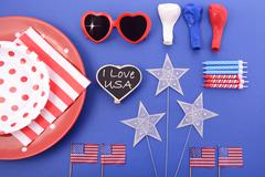 Happy Fourth of July BBQ and Party Table - stock photo