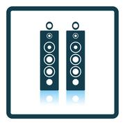 Audio system speakers icon - stock illustration