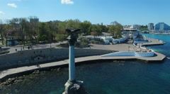Aerial view of Monument to sunken ships in Black sea, Sevastopol, Crimea - stock footage