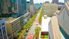 Time Lapse San Francisco Market Street Traffic Sunny Day High Angle Stock Footage