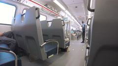Interior of commuter train from Denver Airport to Denver Union Station. Stock Footage