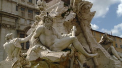 Rome Italy - Fontana dei Quattro Fiumi-Fountain of the Four Rivers Stock Footage
