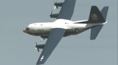 Blue Angels C-130 Fat Albert Flying in Slow Motion Stock Footage