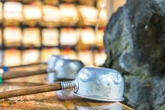 Religion dipper with wood handle in tokyo temple Stock Photos