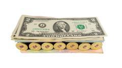 Weapon ammo pile money dollars, dangerous sandwich Stock Photos