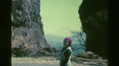 1976: Gypsy woman barking orders at volcano hilltop vista. SAN JOSE, COSTA RICA Arkistovideo