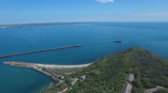 Aerial view of the construction of transport passage through the Kerch Strait Stock Footage