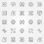 Human cloning icons set Stock Illustration