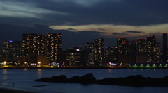Nightview of Buildings in Shinagawa Stock Footage