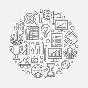 Personal development round illustration - stock illustration