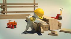 3d rendering of construction worker cutting wooden plank with handsaw Stock Illustration