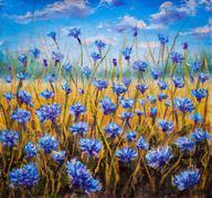 Blue flowers field oil painting. - stock illustration