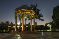 Tomb of Hafez the Great Iranian Poet in Shiraz at night Stock Photos