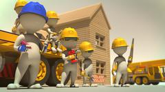 3d rendering of construction crew giving pose in front of finished house Stock Illustration