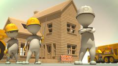 3d rendering of construction crew giving pose in front of finished house - stock illustration