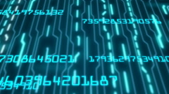 Computer code running in a virtual space. Loopable. Dark Blue. Stock Footage