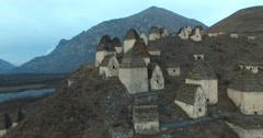 City of the dead: a necropolis near the village of Dargavs, North Ossetia - - stock footage