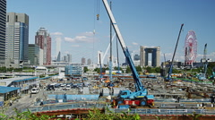 Construction Site in Odaiba Stock Footage