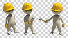 3d rendering with alpha of idle construction worker with wrench - stock illustration