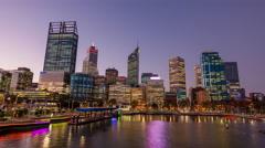 Perth Sunset Cityscape Motion Timelapse (Hyperlapse) Arkistovideo