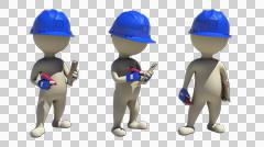 3d rendering with alpha of idle construction team leader with pen and notepad Stock Illustration