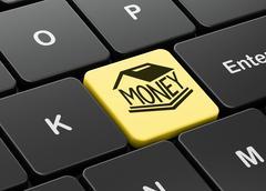 Banking concept: Money Box on computer keyboard background - stock illustration