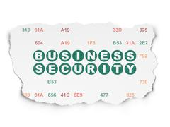 Protection concept: Business Security on Torn Paper background Stock Illustration