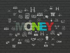 Business concept: Money on wall background - stock illustration