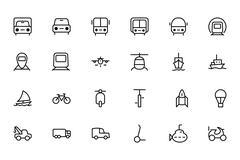 Transport Line Vector Icons - stock illustration