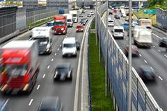Six lane controlled-access highway in Poland... Stock Photos
