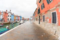 VENICE, ITALY - FEBRUARY 16, 2016: wide view on colorful houses from a second Stock Photos