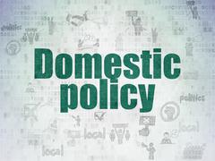 Politics concept: Domestic Policy on Digital Data Paper background - stock illustration