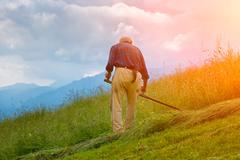 Farmer hand mower for hay - stock photo